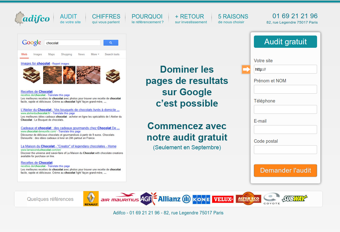 Page d'atterrissage adWords